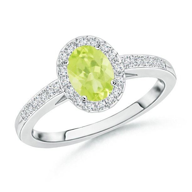 August Birthstone Ring - Classic Oval Peridot Halo Ring with Diamond Accents in Platinum (6x4mm Peridot) - SR0218PD-PT-A-6x4-9