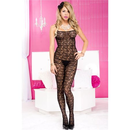 Crochet Pattern Spandex Crotchless Bodystocking, Black