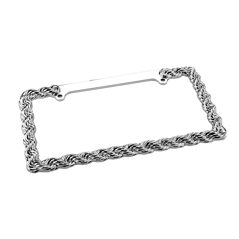 License Plate Frame Rope Silver Decorative License Plate Frame Chrome Zinc