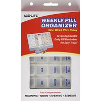 4 Pack - Acu-Life Weekly Pill Organizer - One Week Plus Today 1 Each