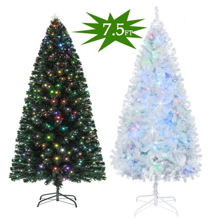 Ktaxon Pre-Lit Artificial 7.5FT Christmas Pine Tree Optical Fiber with Flocked Cones and 260 LEDs String Lights ()