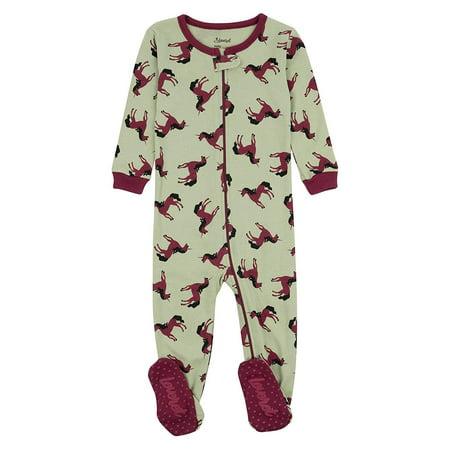 Leveret Kids Pajamas Baby Boys Girls Footed Pajamas Sleeper 100% Cotton (Unicorn Green, Size 2 Toddler) - Glow In The Dark Girls Pajamas
