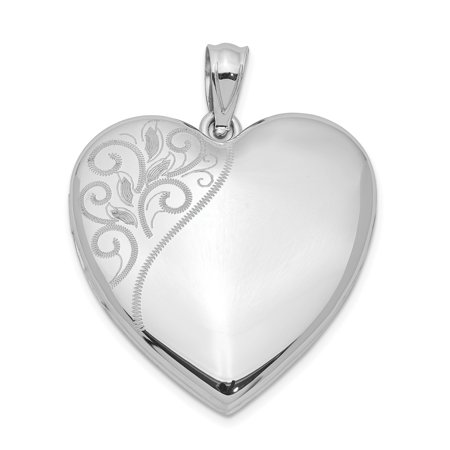 925 Sterling Silver 24mm Swirl Heart Photo Pendant Charm Locket Chain Necklace That Holds Pictures Gifts For Women For Her