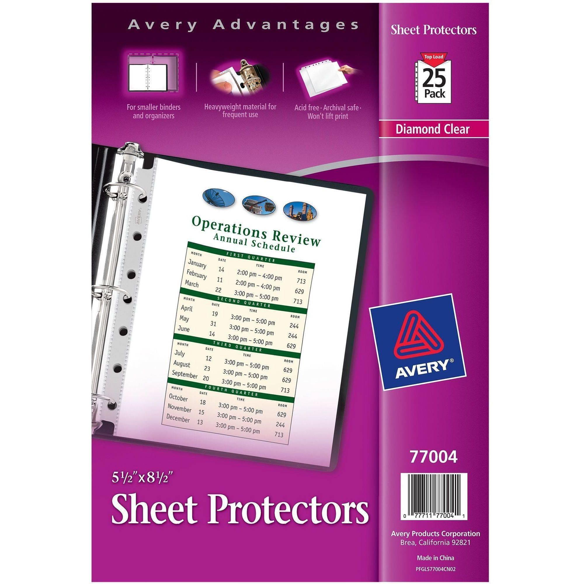 Avery Top Load Sheet Protector, Heavyweight, 8-1/2\