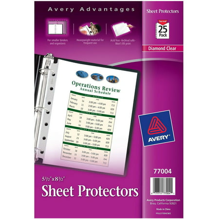 "Avery Top Load Sheet Protector, Heavyweight, 8-1/2"" x 5-1/2"""