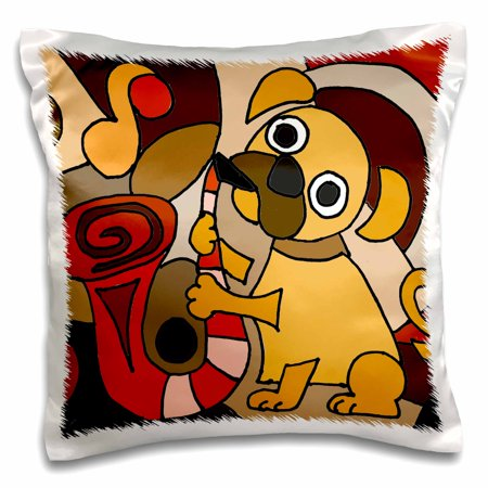 3dRose Funny Pug Puppy Dog Playing Saxophone Modern Abstract Art - Pillow Case, 16 by 16-inch