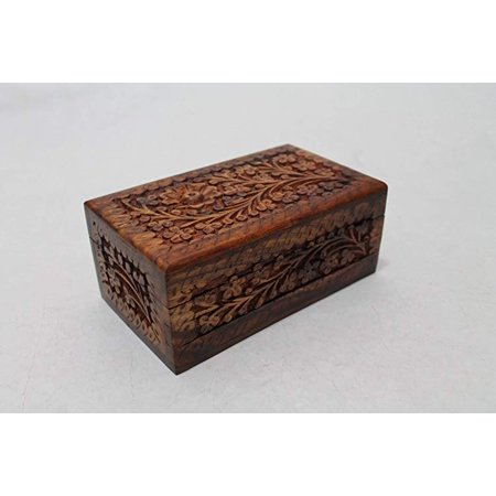 2019 Holiday Gift Hers Wooden Precious Stone Box Special Day Lovely Gift Jewelry Accessories Box with Secret Lock Child Resistant Hand Carving Floral Designs 6