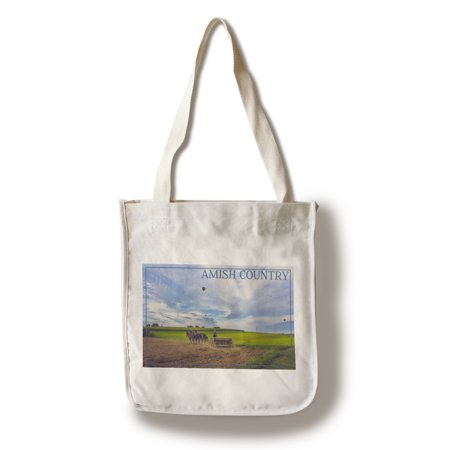 Amish Country - Farmer & Hot Air Balloons - Lantern Press Photography (100% Cotton Tote Bag -