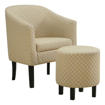 Accent Chair 2pcs Set Light Yellow Geometric Fabric