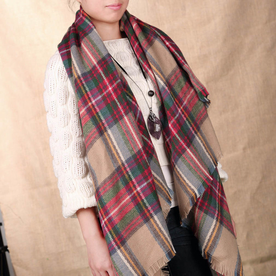 Fashionable Design Winter Women Oversized Blanket Tartan Scarf Wrap Shawl Plaid Cozy Faux Cashmere Keep Warm Scraf