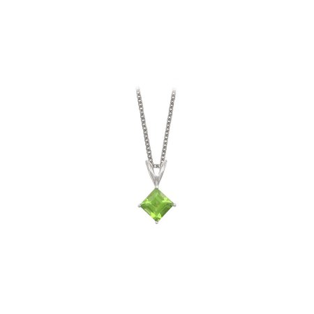 Square Cut Peridot Pendant Necklace in Sterling Silver. 1ct.tw. - image 3 of 3