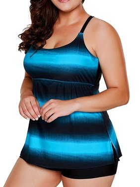 Plus Size Bathing Suits for Women Color Block Striped Tankini Swimsuits with Boyshorts Swimwear
