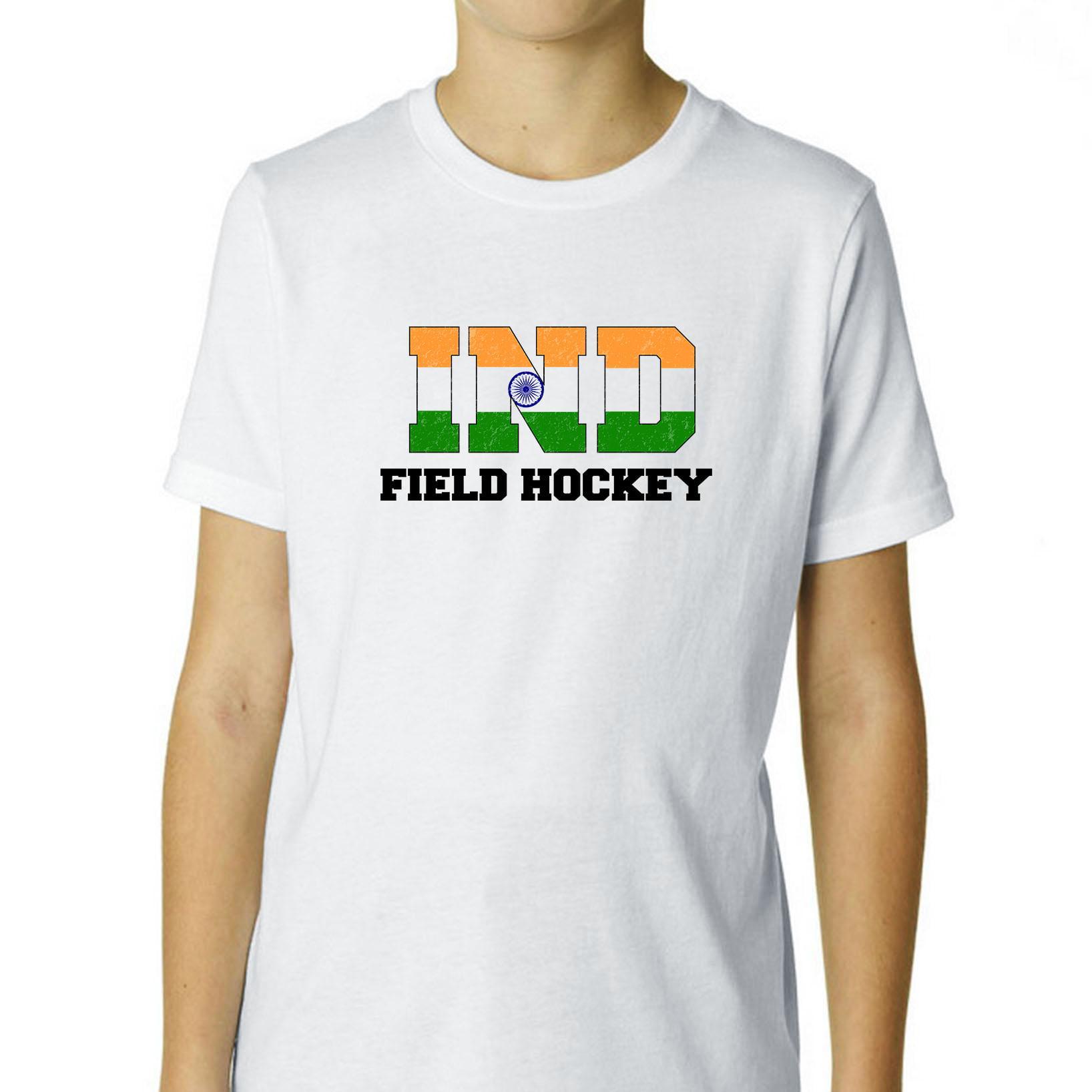 India Field Hockey Olympic Games Rio Flag Boy's Cotton Youth T-Shirt by Hollywood Thread