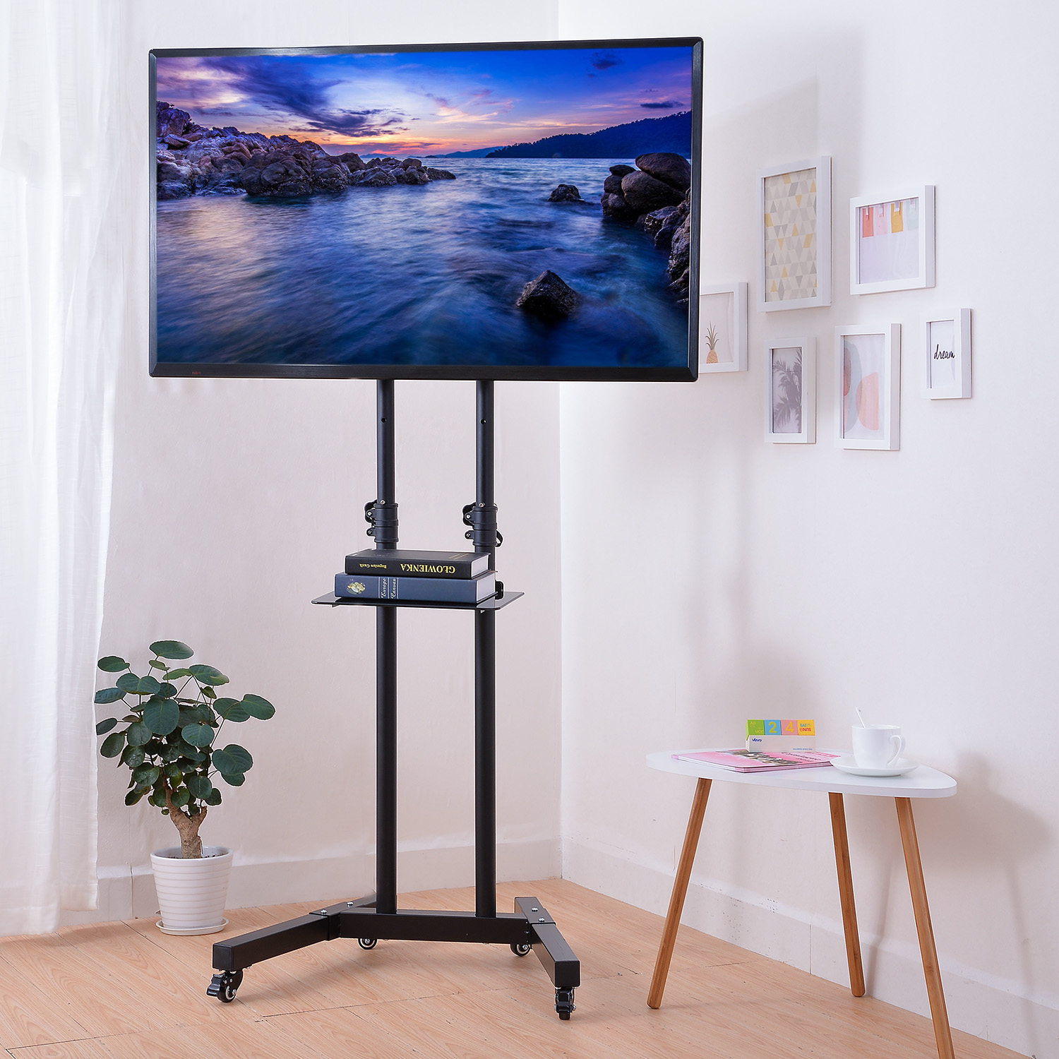 Mllieroo Universal 32-65 Inch Rolling Flat Screen TV Carts Stand Mobile TV Stand with Mount for LED LCD Plasma Flat Panels with Wheels