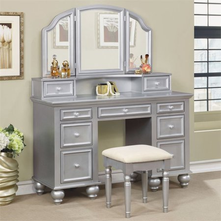 Furniture of America Tamarah 3 Piece Bedroom Vanity Set in Silver