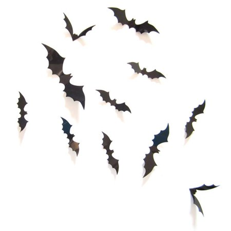 12PCS 3D Life-like Bats Decorative Scary Wall Decal Halloween Eve Decor Home Window Wall Sticker (Scary Halloween Bat Drawings)