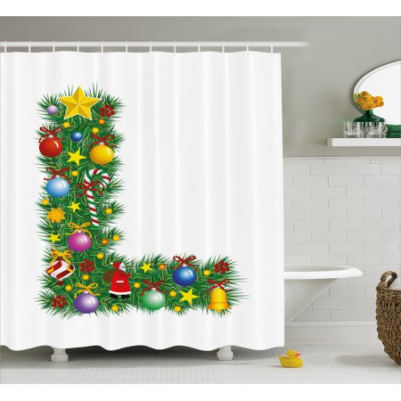 Letter L Shower Curtain Pine Tree Design Majuscule With Christmas Symbols Festivities Celebration Image