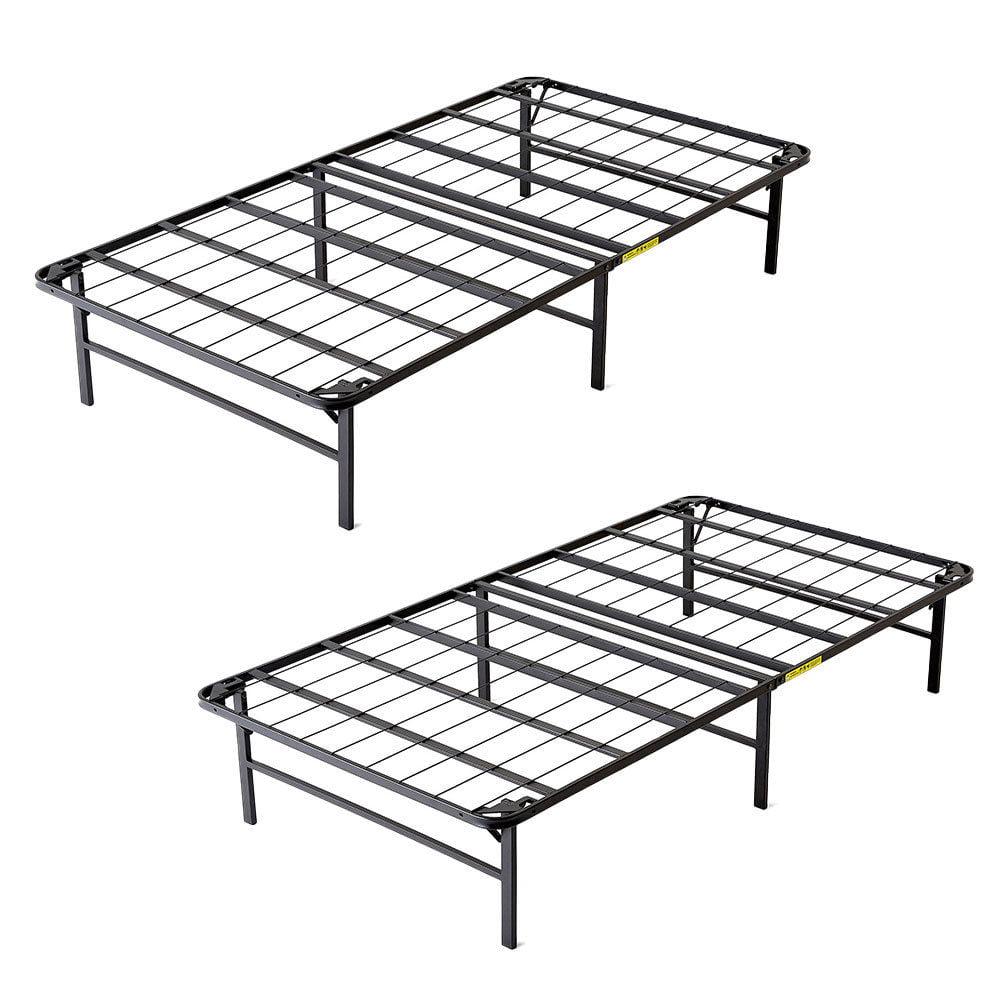 intelliBASE Lightweight Bi-Fold Foldable Platform Metal Bed Frame, Twin (2 Pack)