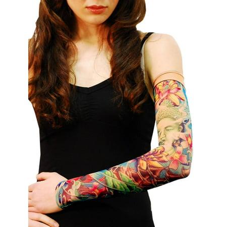 Wild Rose Unisex Single Tattoo Sleeve Mesh Arm Stocking Buddha Lotus Zen, Prayer