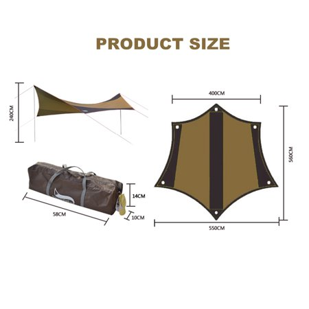 Asewun Portable Camping Tarp Waterproof Sun Shelter Shade