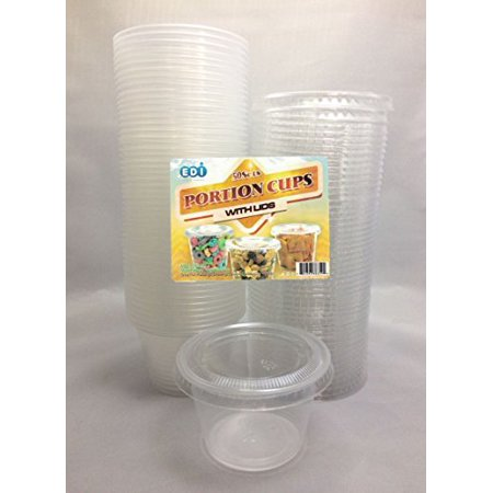 EDI 4 Ounce Clear Plastic Disposable Portion Cups/Souffle Cup with Lids, 50 -