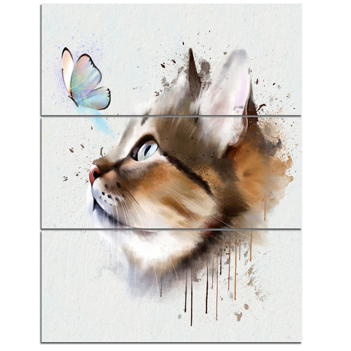 Design Art 'Cat with Butterfly Watercolor' 3 Piece Wall Art on Wrapped Canvas