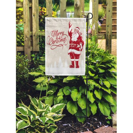 JSDART Vintage Father Christmas Santa Claus Merry Script Calligraphic Fully Adjustable Garden Flag Decorative Flag House Banner 28x40 inch - image 1 of 2