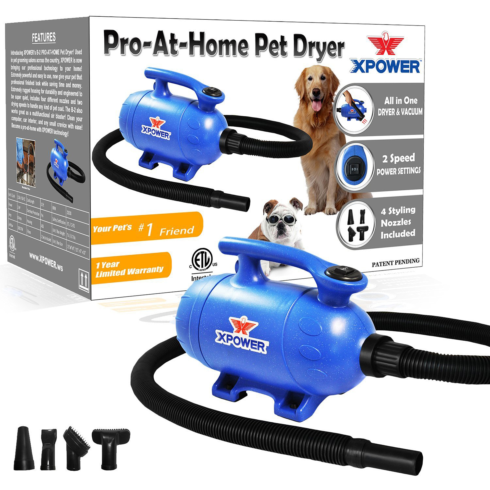 XPOWER B-2 2HP 100 CFM 8.0A 2-in-1 Pro-At-Home Force Air Pet Dryer/Vacuum  Blue