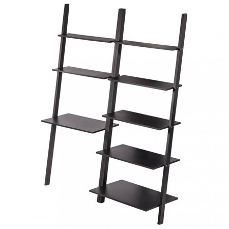 Modern Ladder Bookshelf Bookcase Leaning Ladder Wall Shelf Storage 2PCS