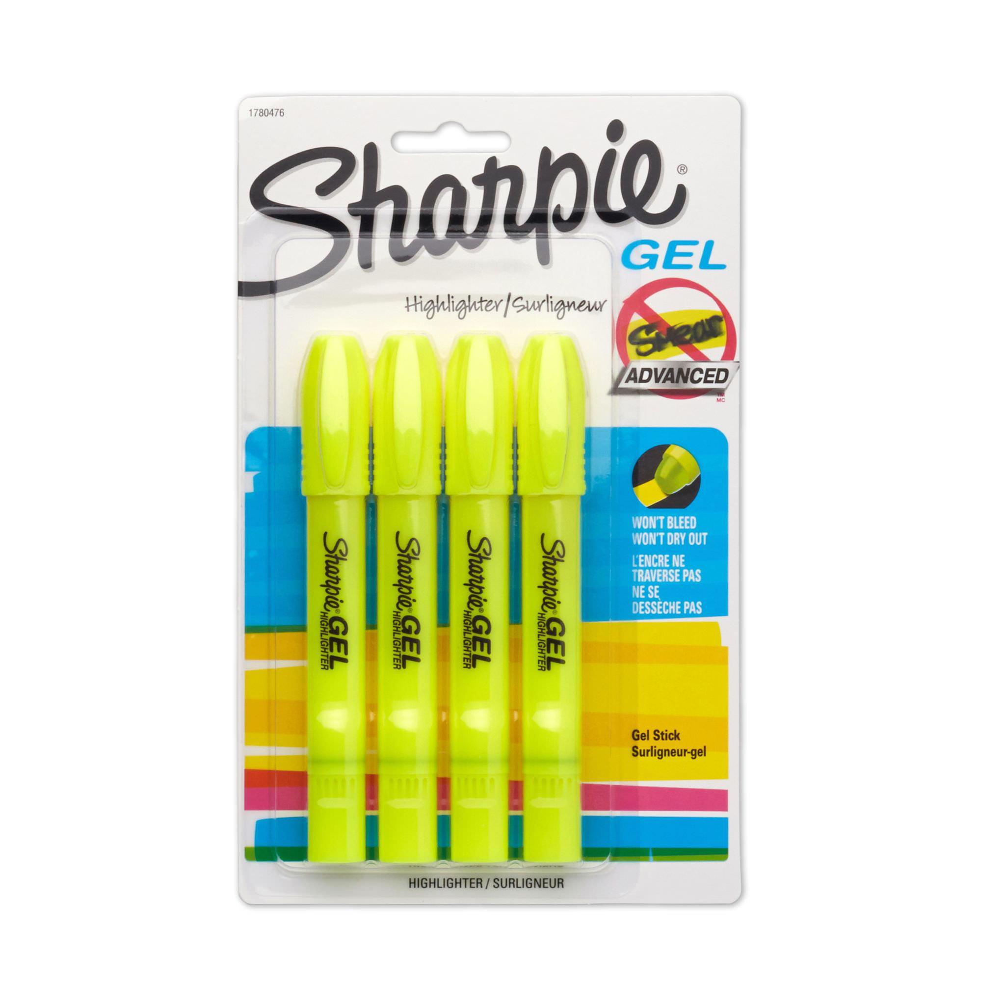 Sharpie Gel Highlighter, Bullet Tip,Yellow, 4-Pack