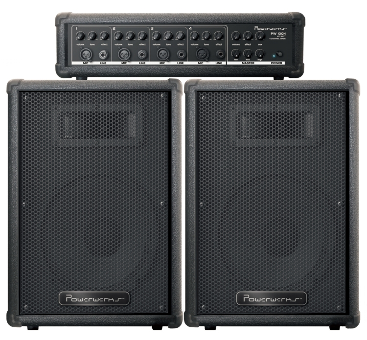 "Powerwerks PW100 10"" P.A. Speaker Sound Box System W/ Mix..."