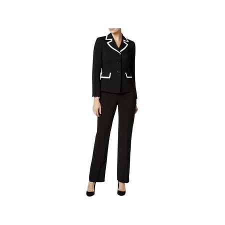 ab448a2f5 Le Suit - Le Suit Womens Jayden 3 Button Blazer Contrast Trim Pant Suit -  Walmart.com