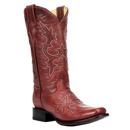 CORRAL Women's Desert Red Goat Leather Square Toe Cowgirl Boots R1311 (10 B(M) -