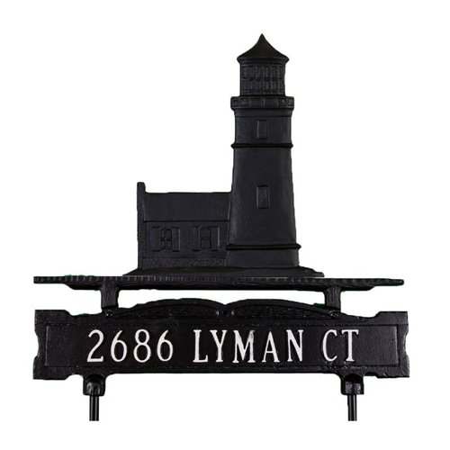 Montague Metal CLSO-1-92 CLSO Series One Line Lawn Sign with Cottage Lighthouse Ornament - Satin Black