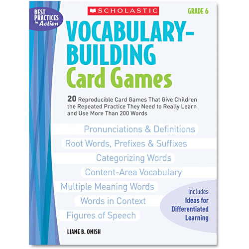 Scholastic Vocabulary Building Card Games, Grade 6