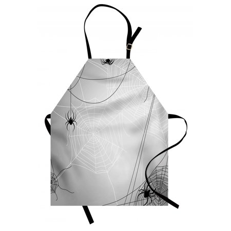 Spider Web Apron Spiders Hanging from Webs Halloween Inspired Design Dangerous Cartoon Icon, Unisex Kitchen Bib Apron with Adjustable Neck for Cooking Baking Gardening, Grey Black White, by Ambesonne - Halloween Inspired Shots