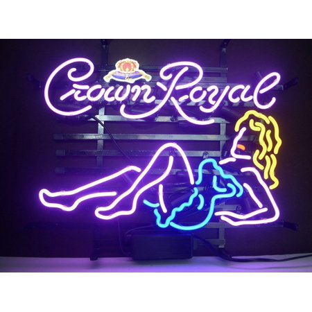 "Desung Brand New Crown Royal Girl Neon Sign Handcrafted Real Glass Beer Bar Pub Man Cave Sports Neon Light 17""x 13"" WM04"