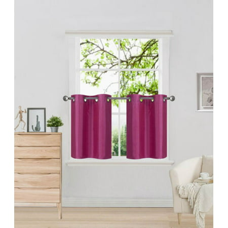N29 Hot Pink 2-Piece SemiSheer Plain Tier Curtains for Small Windows, Eyelet Top Lined Window Treatment Panels 60