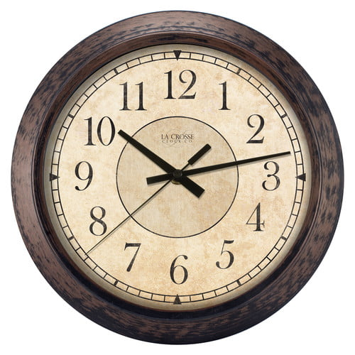 La Crosse Clock 404-2635 14 Inch Round Brown Plastic Analog Wall Clock by La Crosse Technology, Ltd.