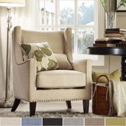 Tribecca Home  nry Wingback Nailad Upholstered Club Chair with Pillow