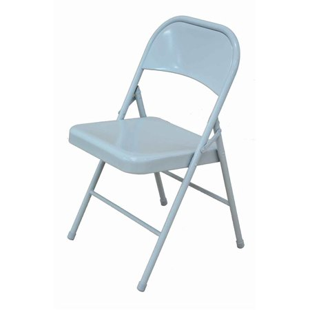 metal folding chair in white and silver set of 4