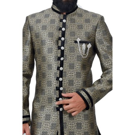 Multi Art Brocade Silk Traditional Indian Wedding Indo-Western Sherwani for Men. This product is custom made to order. - image 1 de 6