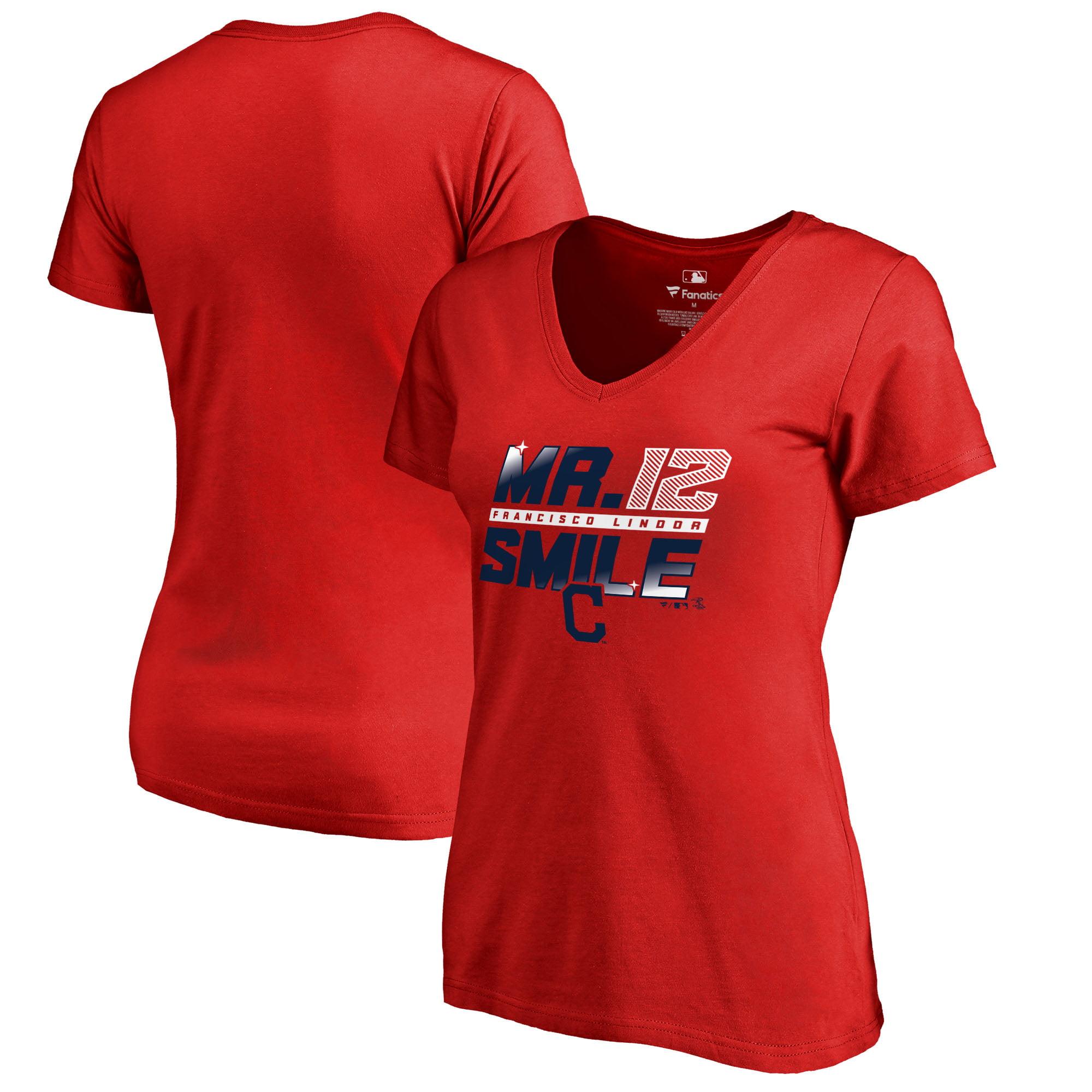 Francisco Lindor Cleveland Indians Fanatics Branded Women's Hometown Collection Mr. Smile V-Neck T-Shirt - Red