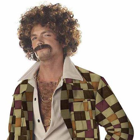 Disco Dirt Bag Wig and Mustache Adult Halloween - 70s Disco Wig