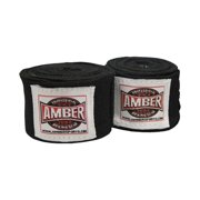 """Amber Mexican Boxing Hand Wraps Elastic Bandages Fist Inner Gloves 200"""" Black Pair"""