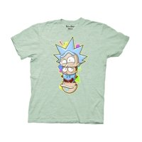 Ripple Junction Rick and Morty and Meeseeks Nesting Heads Adult T-Shirt Heather Light Green
