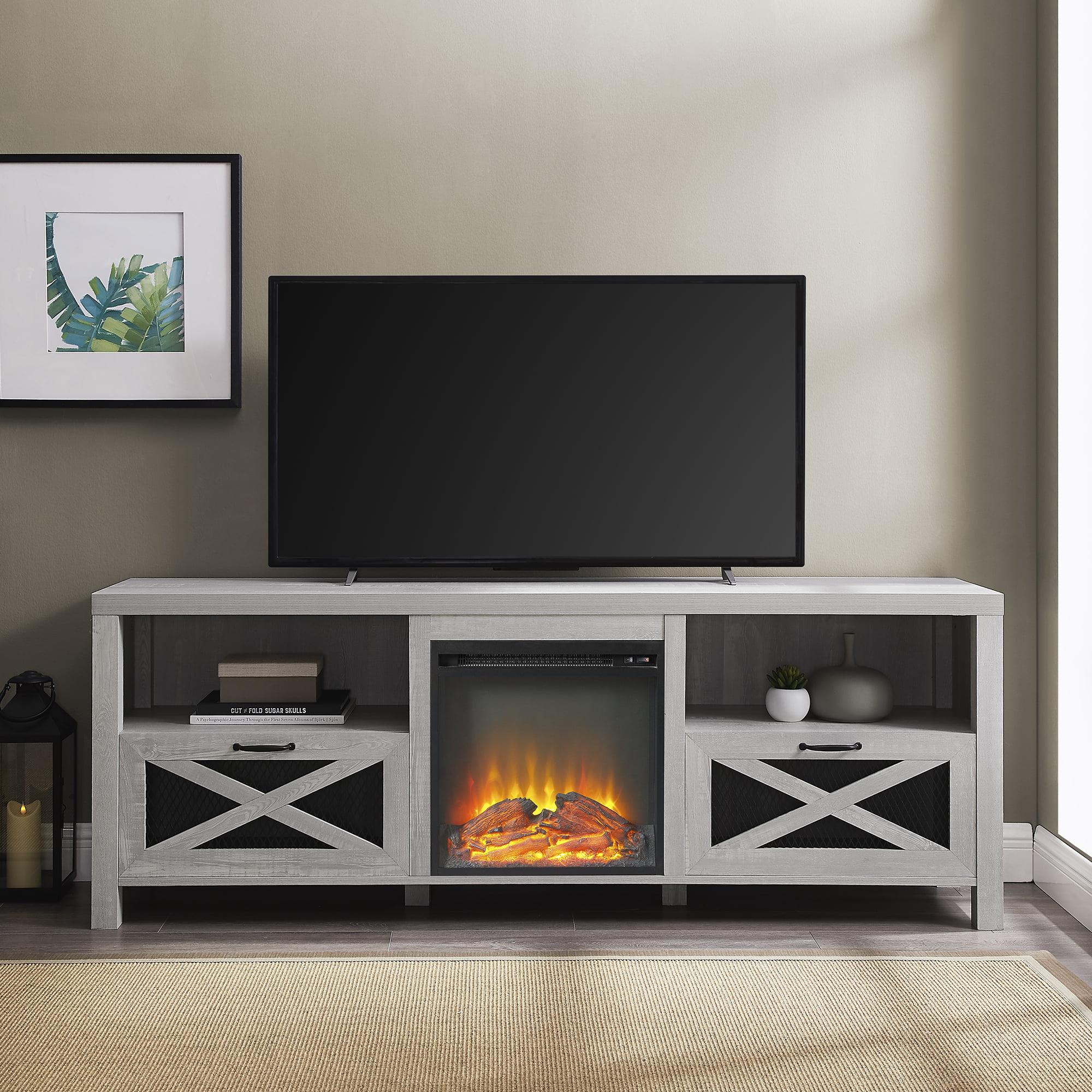 Manor Park Rustic Fireplace Tv Stand For Tvs Up To 78 Stone Grey Walmart Com Walmart Com