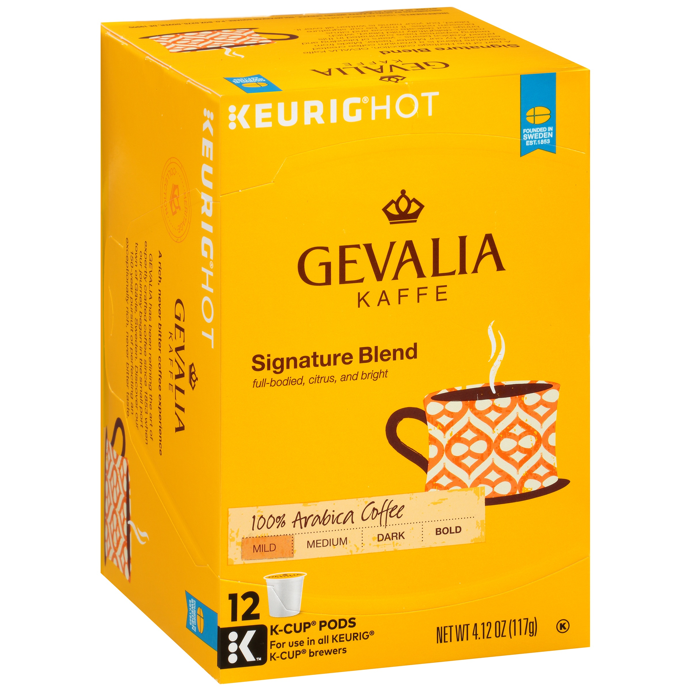 Gevalia Kaffe Signature Blend Mild Roast Coffee K-Cup Packs, 12 count, 4.12 OZ (117g)