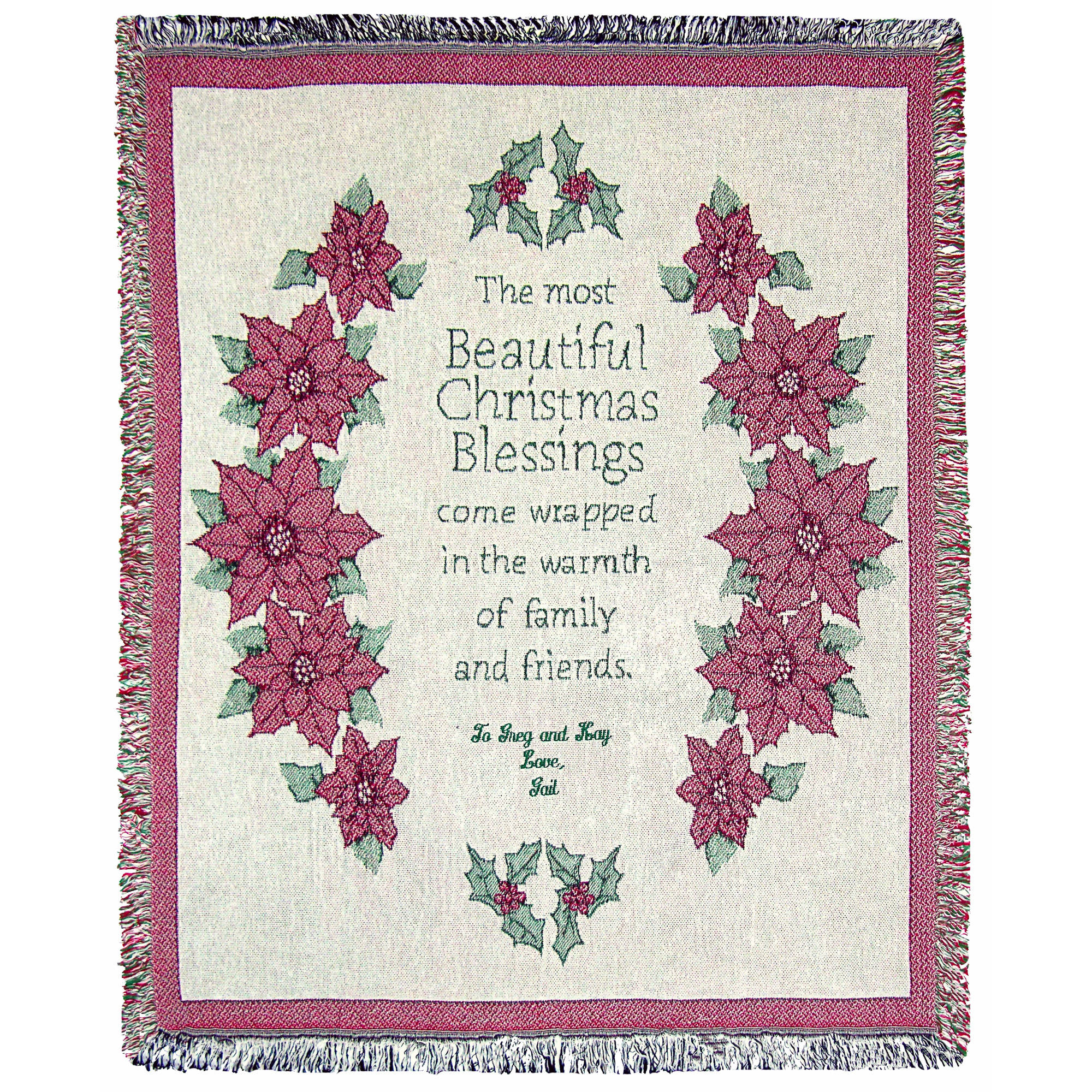 Personalized Christmas Blessings Poinsettia Throw