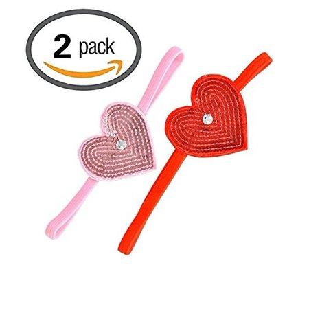 Valentines Day Head (Valentine's Day Girls Elastic Headband with Pink and Red Heart, Set of)
